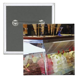 Italian gelato in display case 2 inch square button