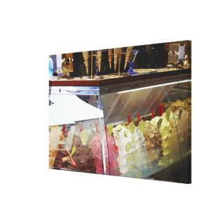 Italian gelato in display case canvas print
