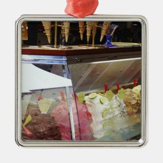 Italian gelato in display case metal ornament