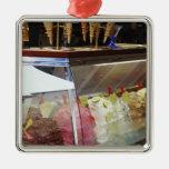 Italian gelato in display case ornaments