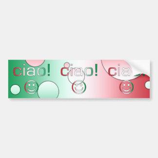 Italian Gifts : Hello / Ciao + Smiley Face Bumper Sticker