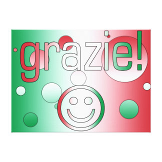 Italian Gifts : Thank You / Grazie + Smiley Face Gallery Wrapped Canvas