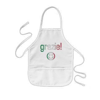 Italian Gifts : Thank You / Grazie + Smiley Face Kids' Apron