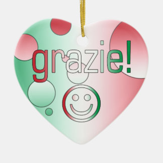 Italian Gifts : Thank You / Grazie + Smiley Face Christmas Tree Ornaments