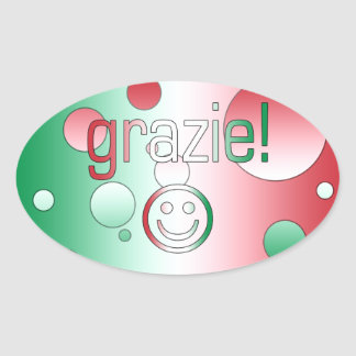 Italian Gifts : Thank You / Grazie + Smiley Face Oval Sticker