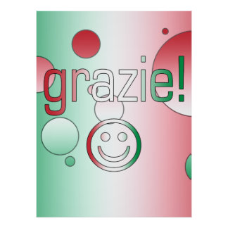 Italian Gifts : Thank You / Grazie + Smiley Face Poster