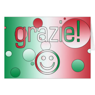 Italian Gifts : Thank You / Grazie + Smiley Face Stationery Note Card