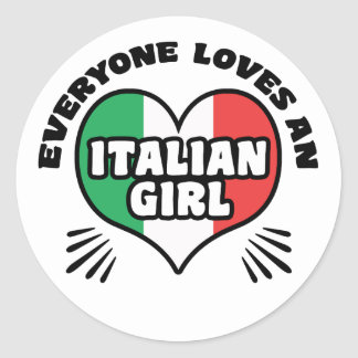 Italian Girl Classic Round Sticker