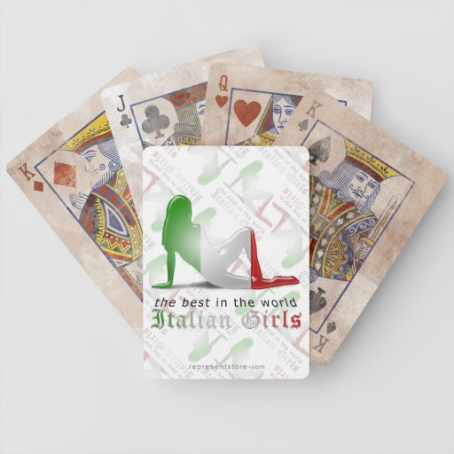 Italian Girl Silhouette Flag Bicycle Playing Cards