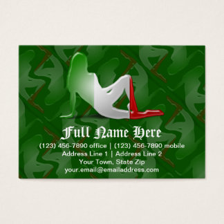 Italian Girl Silhouette Flag Business Card