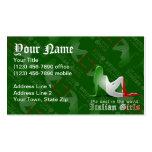Italian Girl Silhouette Flag Business Cards