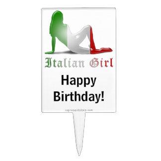 Italian Girl Silhouette Flag Cake Toppers