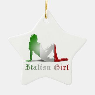 Italian Girl Silhouette Flag Ceramic Ornament