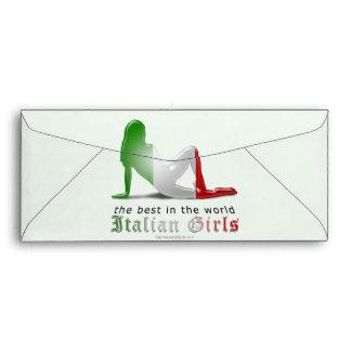 Italian Girl Silhouette Flag Envelope