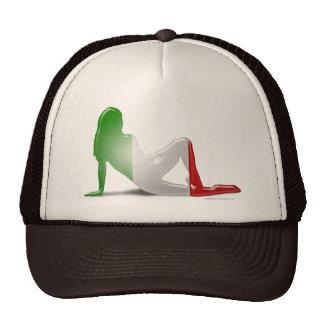 Italian Girl Silhouette Flag Trucker Hat