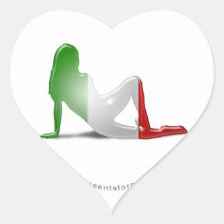 Italian Girl Silhouette Flag Heart Sticker