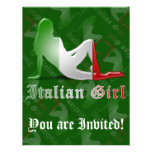 Italian Girl Silhouette Flag Invitations