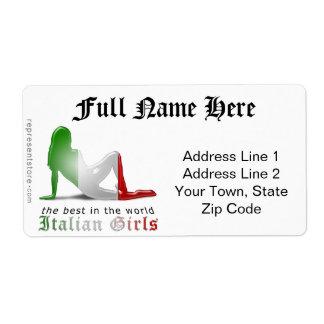 Italian Girl Silhouette Flag Shipping Label