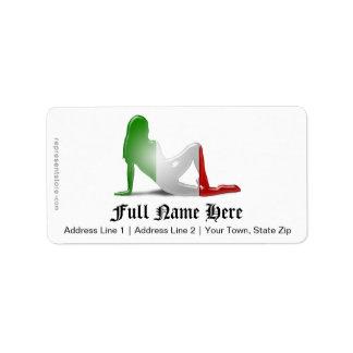 Italian Girl Silhouette Flag Address Label
