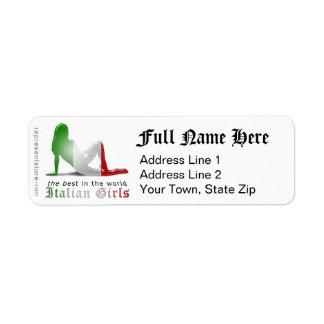 Italian Girl Silhouette Flag Return Address Label