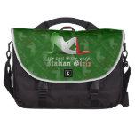 Italian Girl Silhouette Flag Laptop Messenger Bag