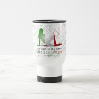 Italian Girl Silhouette Flag Coffee Mugs