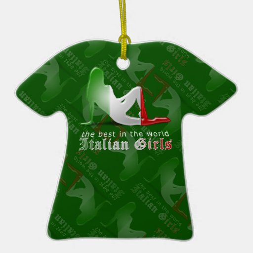 Italian Girl Silhouette Flag Christmas Tree Ornaments