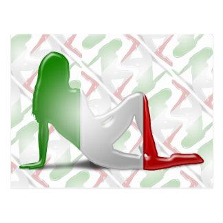 Italian Girl Silhouette Flag Postcard