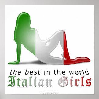 Italian Girl Silhouette Flag Poster