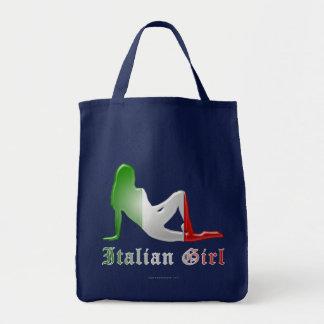 Italian Girl Silhouette Flag Tote Bag