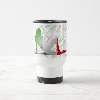 Italian Girl Silhouette Flag Travel Mug