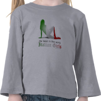 Italian Girl Silhouette Flag T-shirts