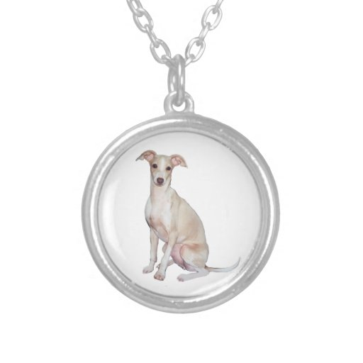 Italian Greyhound (A) - Fawn Round Pendant Necklace