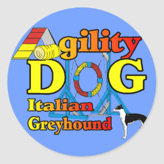 Italian_Greyhound_Agility Gifts Classic Round Sticker