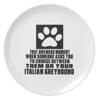 ITALIAN GREYHOUND AWKWARD DESIGNS DINNER PLATE