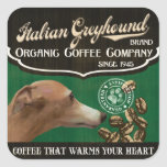 Italian Greyhound Brand - Organic Coffee Company Square Sticker