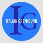 Italian Greyhound Breed Monogram Classic Round Sticker