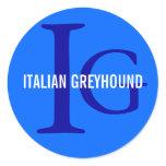 Italian Greyhound Breed Monogram Classic Round Sticker