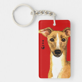 Italian Greyhound Color Block Keychain