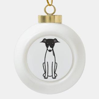 Italian Greyhound Dog Cartoon Ceramic Ball Christmas Ornament