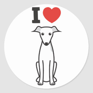 Italian Greyhound Dog Cartoon Classic Round Sticker