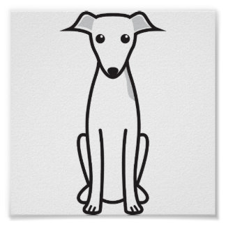 Italian Greyhound Dog Cartoon Posters
