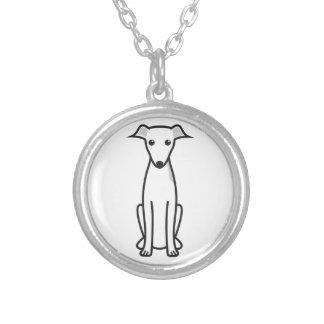 Italian Greyhound Dog Cartoon Round Pendant Necklace