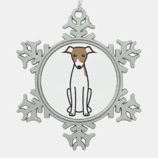 Italian Greyhound Dog Cartoon Snowflake Pewter Christmas Ornament