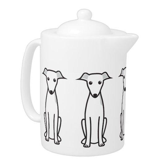 Italian Greyhound Dog Cartoon Teapot