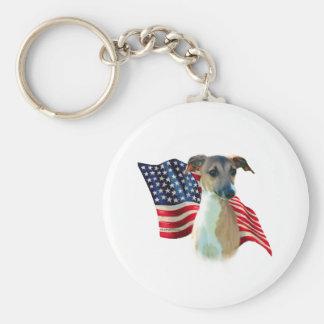 Italian Greyhound Flag Basic Round Button Keychain