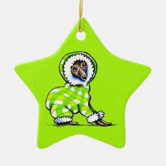Italian Greyhound Happy Plaid Snowsuit Winter Ceramic Ornament