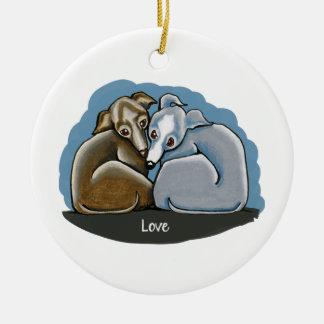Italian Greyhound Huddle Ceramic Ornament