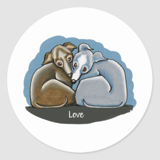 Italian Greyhound Huddle Classic Round Sticker