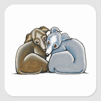 Italian Greyhound Huddle Square Sticker